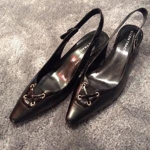 Black kitten heel sling back shoe